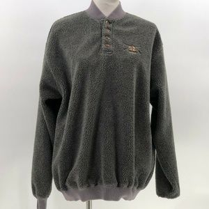 Orvis Sherpa Pullover sweater sweatshirt 4 button